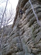 Rock Climbing Photo: Ian shaking out a little rest on Group Therapy
