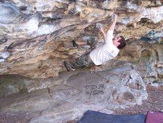 Rock Climbing Photo: Me on a fun, long V1 problem @ Sandrock
