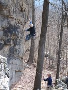 Rock Climbing Photo: Me on the beginning of Man Servant