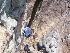 Rock Climbing Photo: Shelby Miller warming up on Man Servant