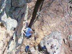 Rock Climbing Photo: Shelby Miller warming up on Man Servant