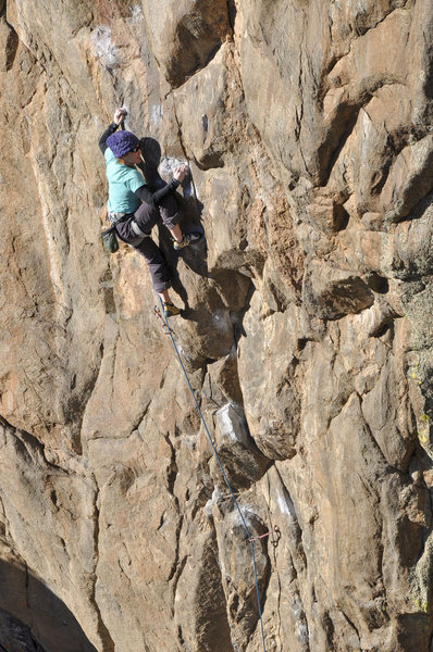 Rock Climbing Photo: Becky Johnson basking in the late afternoon sun.