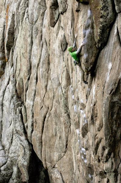 """Rock Climbing Photo: Scott Bennett slapping the """"egg"""" up high..."""