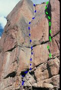 Rock Climbing Photo: West Face of Tarryall.  The lines are my estimate ...