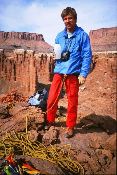 Rock Climbing Photo: buttonheadspinner on top of Standing Rock, 1987.
