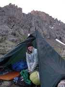 In camp on trip to summit Crestone Peak in the Sangre de Cristos in 2009.