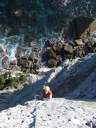 Rock Climbing Photo: climbing with the waves crashing below
