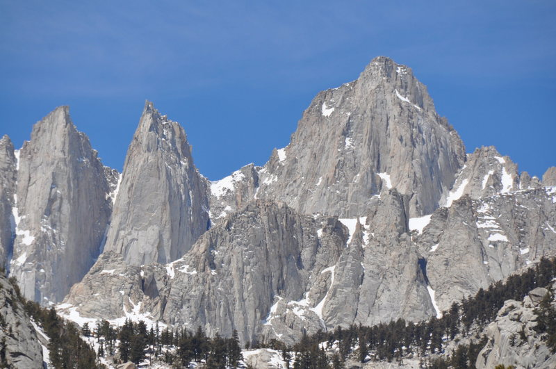 Mt Whitney on the right, Keeler Needle in the middle