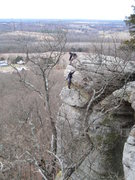 Rock Climbing Photo: Cassie following the second pitch of Bloody Nose