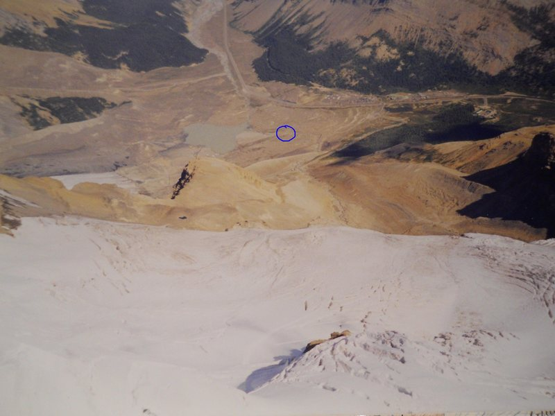 Athabasca Summit Shot<br> Photo by Kirk Miller <br> August, 2000<br> climber parking circled blue