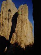Rock Climbing Photo: Needles Eye Fenton Start red X - 5.10 past puny bo...