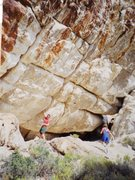 Rock Climbing Photo: Super steep and hard looking crack with anchors.  ...
