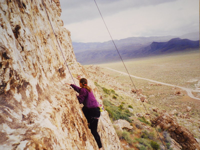 June, 1999<br> On the first pitch of the original route.