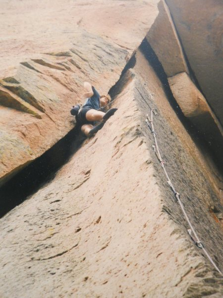 Dianne Barrow<br> almost to the anchor<br> nice 5.10 arete<br> &quot;Super Crack of the Henry's Dome&quot; <br>