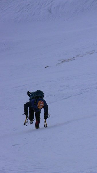 Heading to the base of the couloir