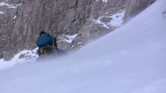 Rock Climbing Photo: Moving up steep snow (45-55 degrees) inside the co...