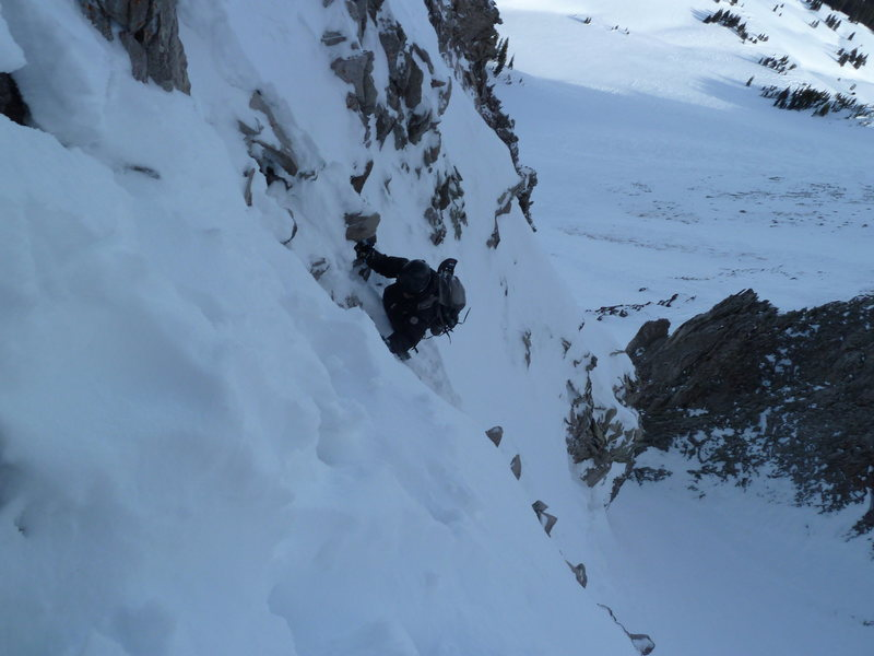 Steep snow on rotten rock right before we roped up for a short rock section.