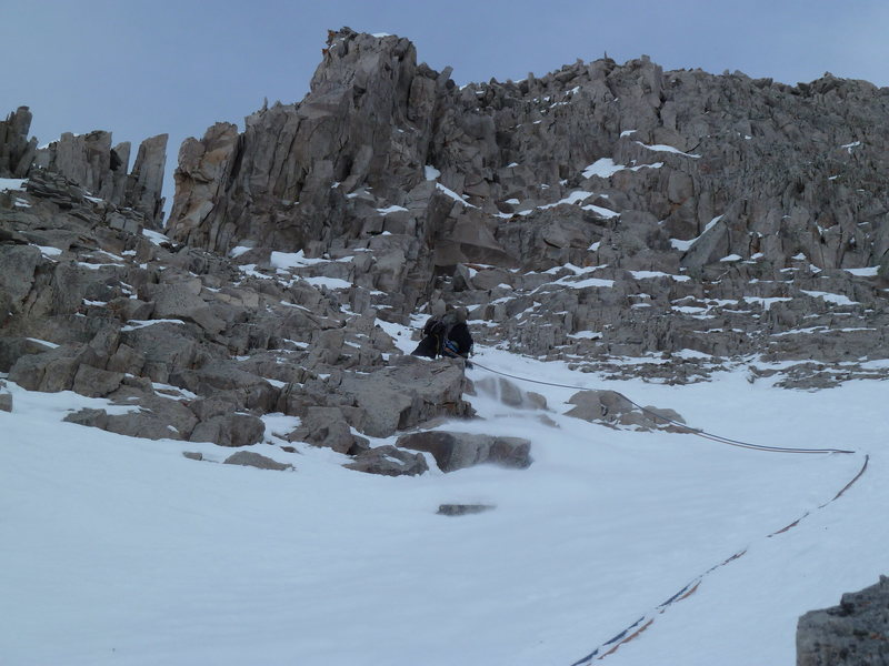 Very close to our high point.  This is the top of the adjacent couloir in shallow 60 degree snow on absolutely horrid rock.  Things are getting sketchy.  Anyone willing to climb this rock portion will gain access to the summit ridge and complete the route.