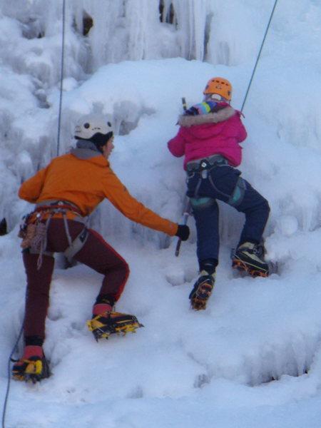 Araceli's first ice climb - age 9.  kids wall.  Ouray Ice Fest 2011.