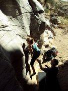 Rock Climbing Photo: Fun water polished boulder at the base of the main...