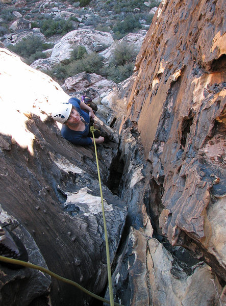 Gwen approaching the first belay.