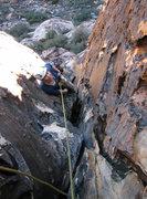 Rock Climbing Photo: Gwen approaching the first belay.