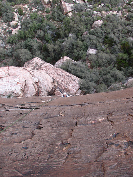 Approaching the roof about three quarters up pitch 1.