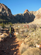 Rock Climbing Photo: Gwen and Truman on the approach to climb Cookie Mo...