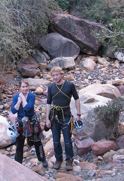 Gwen and Truman in the south fork of <em>[[105731962]]</em>, after climbing <em>[[105732773]]</em>.<br> <br> January, 2011.
