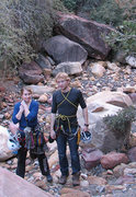 Rock Climbing Photo: Gwen and Truman in the south fork of Pine Creek Ca...