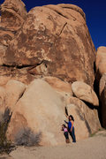 Rock Climbing Photo: Savannah pointing to the Pet or Meat topo