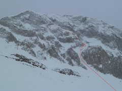 Rock Climbing Photo: Our attempted route.  Red dashes mark the adjacent...