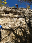Rock Climbing Photo: Just completed first 5.10 b lead.
