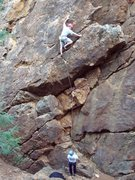 Rock Climbing Photo: Phil Ermshar leading Overhang 5.9. Photo by Cheri ...