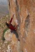 Rock Climbing Photo: Close up of top crux of Bush Doctor...the reachy p...