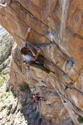 Rock Climbing Photo: Sharma on the crux second pitch, about to enter th...