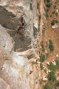 Rock Climbing Photo: Baby Face 11a, and view of lunch rock at the base....