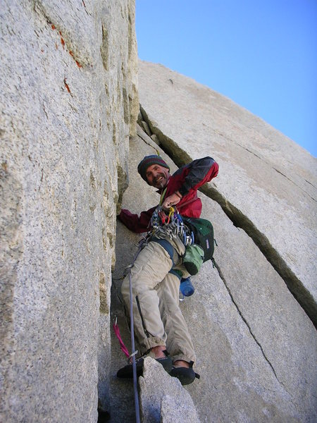 Rock Climbing Photo: Bruce Lella, 2007 first one day ascent Merriam Pea...