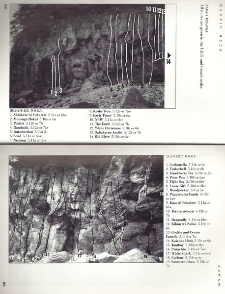 Jogasaki, Sunrise/Sunset Areas<br> <br> Topos provided by Sam Lightner Jr.  from his book Exotic Rock.  Thanks Sam for letting me post the info.