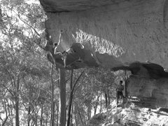 "Rock Climbing Photo: Alex on the short but steep ""Cowboy Junkies&q..."