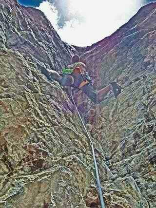 Rock Climbing Photo: Me on the third pitch of People's Choice.