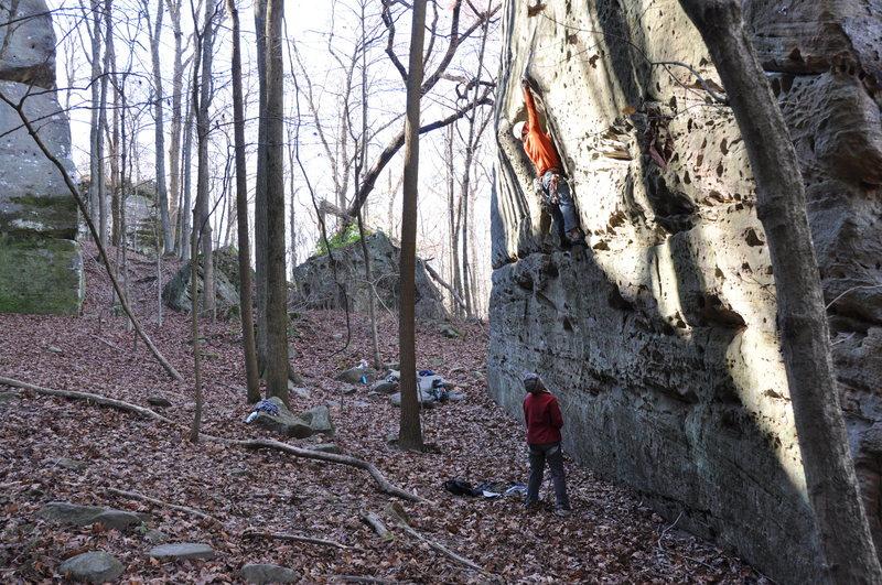 Rock Climbing Photo: Getting ready to pull the slight bulge on Lothlori...