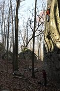 Rock Climbing Photo: The balancey crux of Lothlorien
