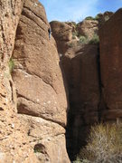 Rock Climbing Photo: Heath climbing for the first time at Queen Creek, ...
