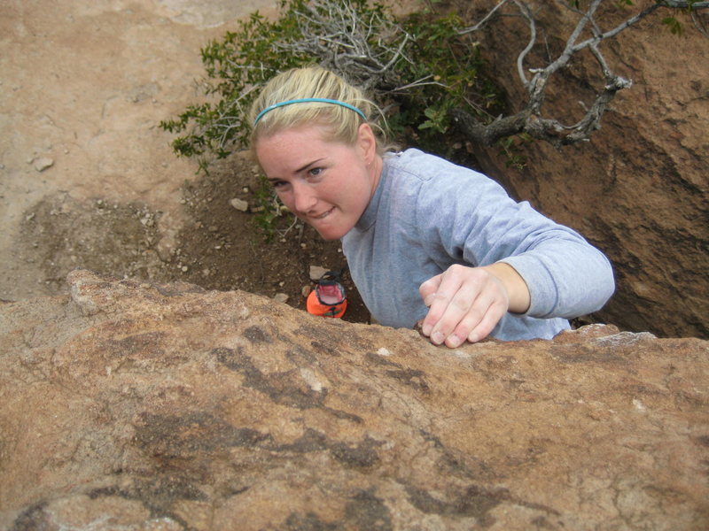 Rock Climbing Photo: Cass pulling at Oak Flats, AZ
