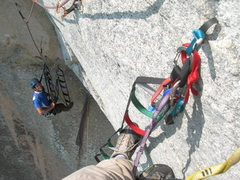 Rock Climbing Photo: Matt Thorum through the only hook move on P3 rivet...