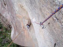 Rock Climbing Photo: Looking down at Matt on the P3 Head/Hook/Rivet/Bol...
