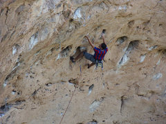 Rock Climbing Photo: Moving into the extended boulder problem crux