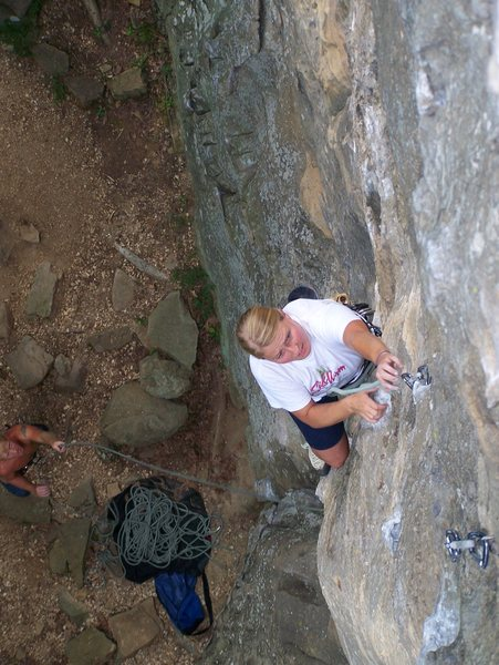 Rock Climbing Photo: Shelby clipping on Detention