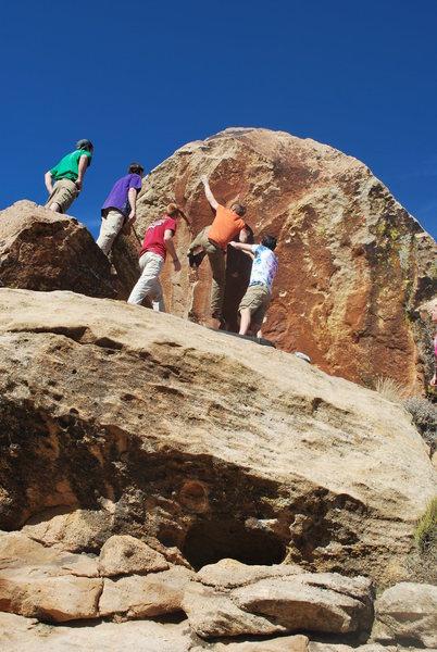 This is the Shot Hole Boulder.  Matt Budd is on Shot Hole V6.
